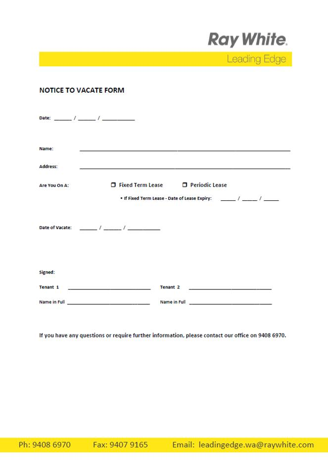 vacate property notice template