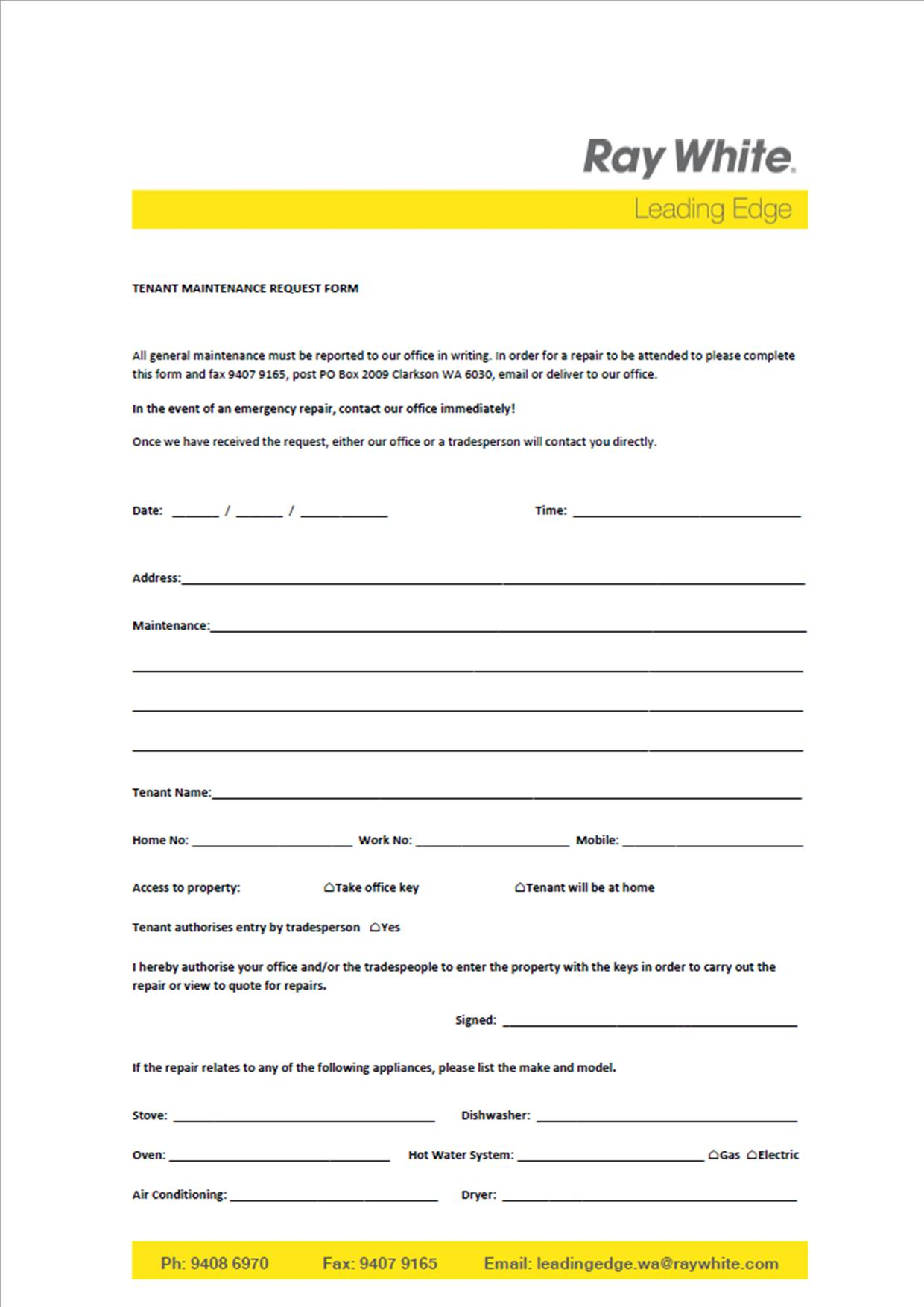 Real Estate Leading Edge WA Tenant Maintenance Request Form
