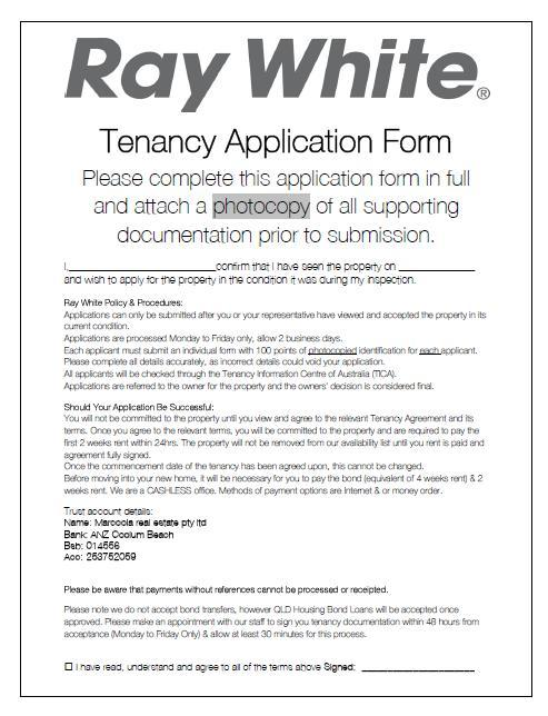 Ray White Coolum Tenants Application Form