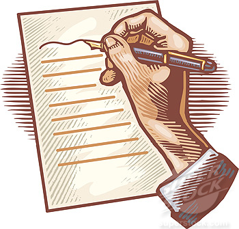 A person writing a letter with a pen