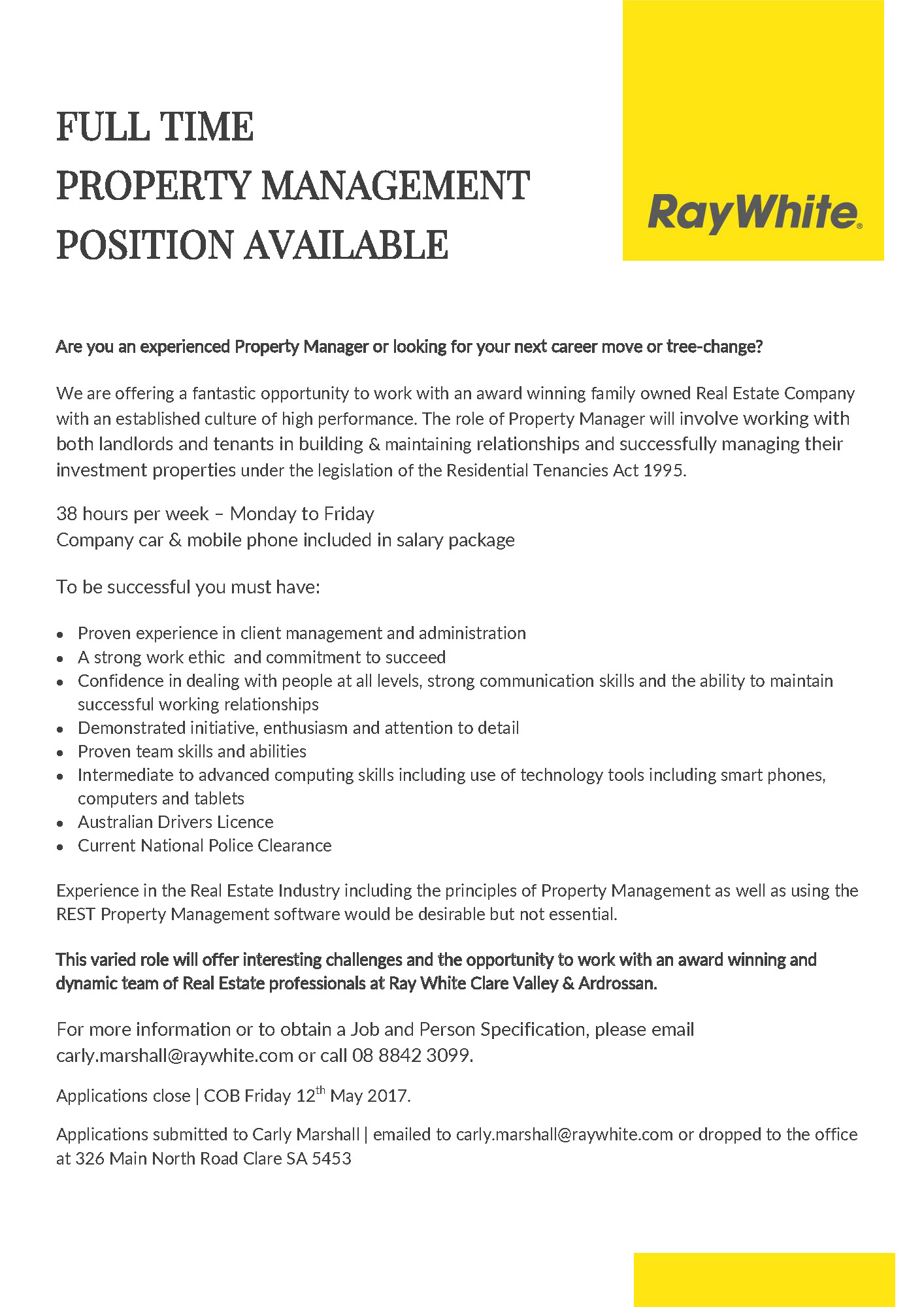 We're Hiring - News - Ray White Clare Valley