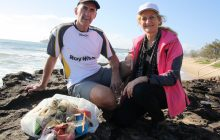Brett and Jenny Graham of Ray White Maroochydore with rubbish collected on a morning walk at Mooloolaba.Photo Erle Levey / Sunshine Coast Daily