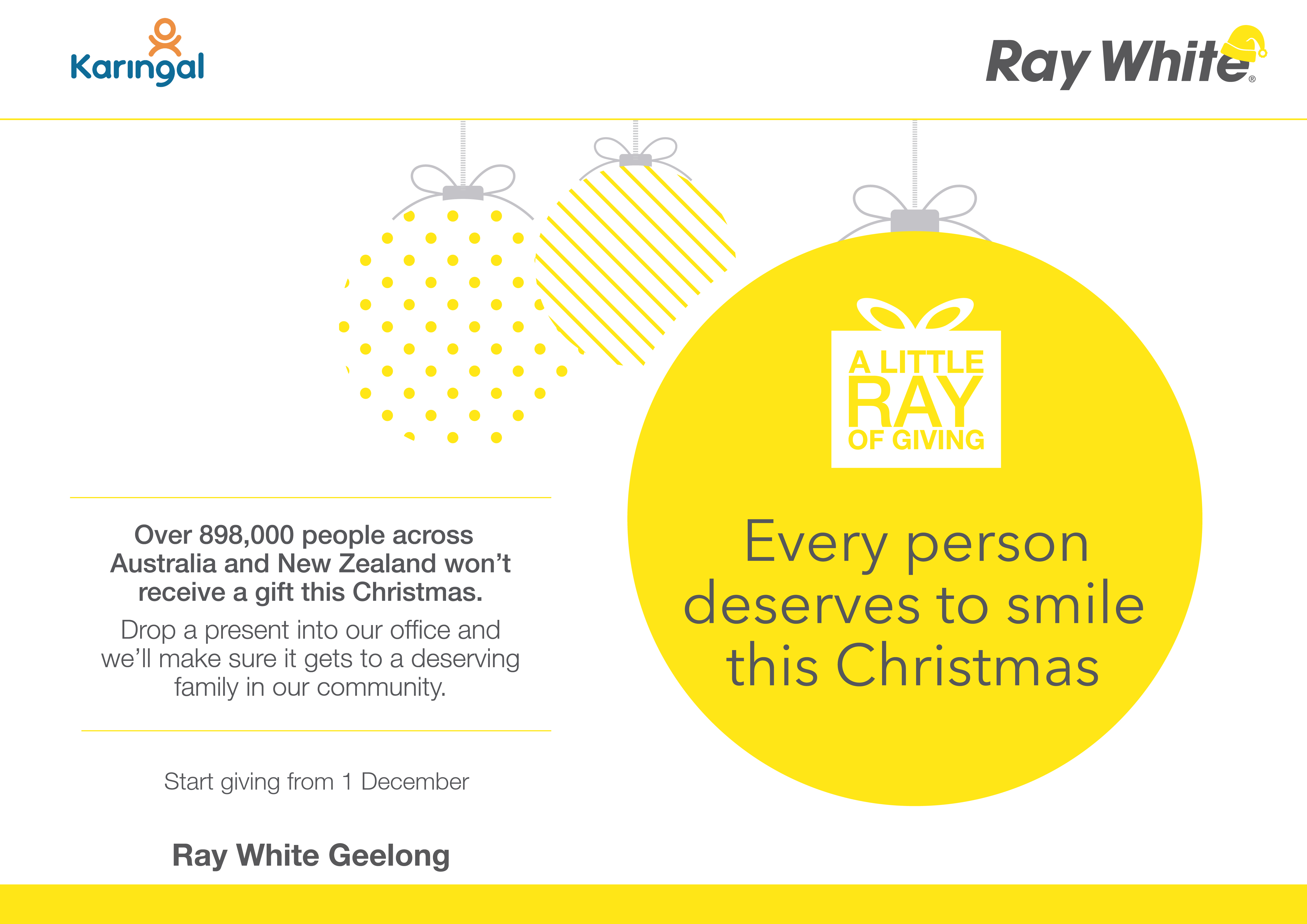 Window card - landscape - A little Ray of giving 2015 - Ray White AUS