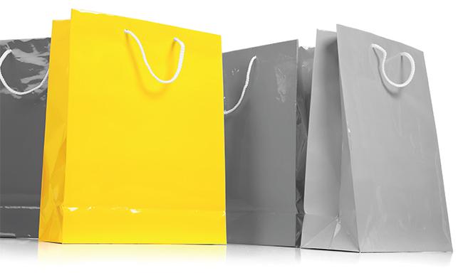 Yellow & Grey shopping bags